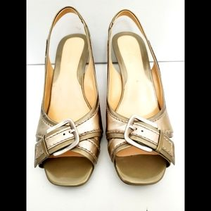 NEW Cole Haan Gold/Bronze Open Toe Kitten Heels